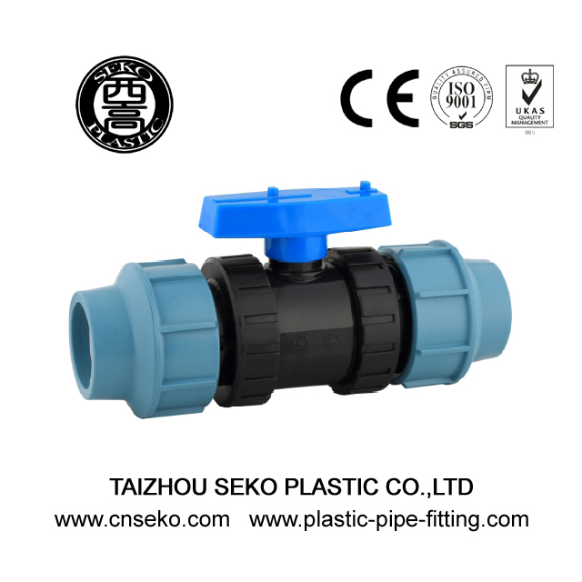 Customized Design 20mm-110mm Black PP True Uinon Compression Ball Valve
