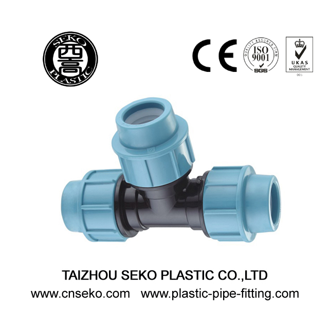 Plastic equal tee pp compression pipe fittings for irrigation