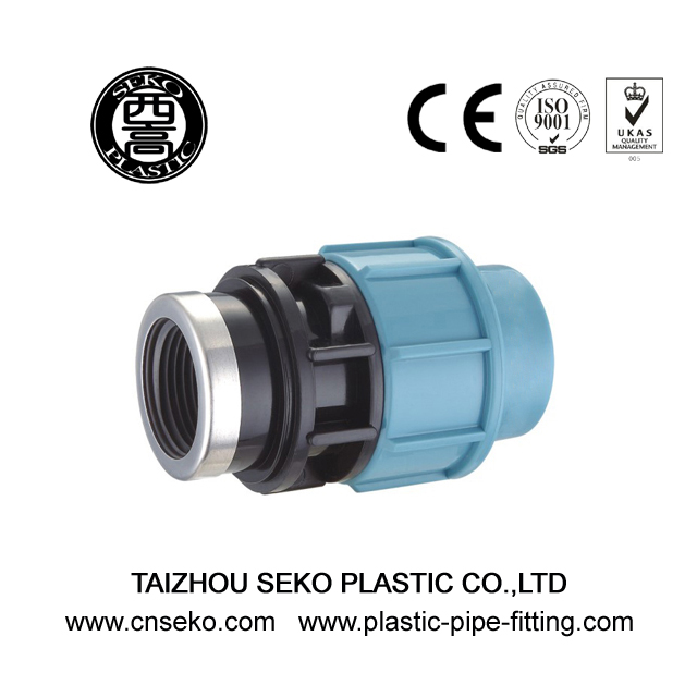 Blue and black PP female adaptor compression pipe fittings