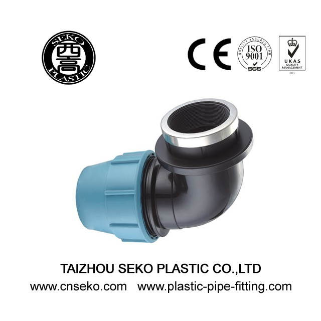 Pp hdpe female elbow plumbing compression fittings