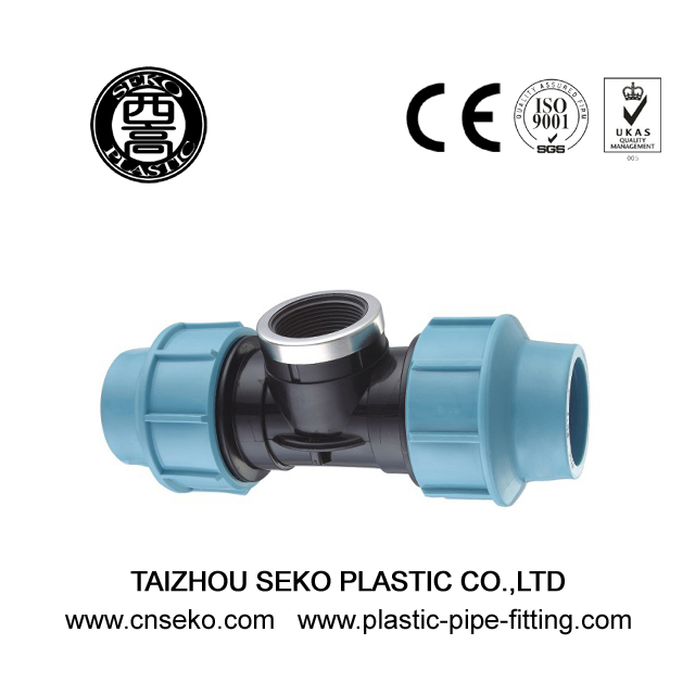 Plastic female tee compression pipe fittings made in pp hdpe
