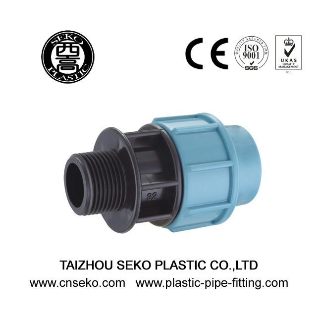 Hdpe pp male threaded adaptor compression pipe fittings