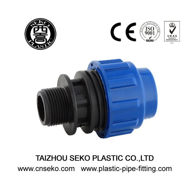 Plastic male threaded adaptor hdpe pp compression pipe fittings