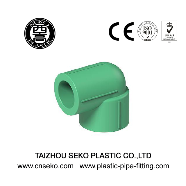 Green ppr 90 degree reducing elbow plastic pipe fittings for water supply