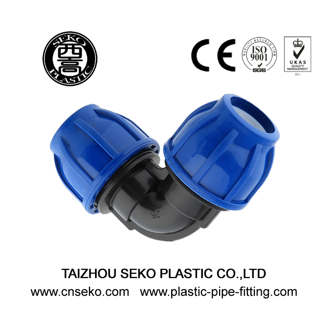 Good quality 90 Deg PP HDPE Equal Elbow compression fittings