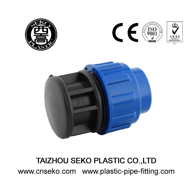 Blue black hdpe pp end cap/plug compression pipe fittings