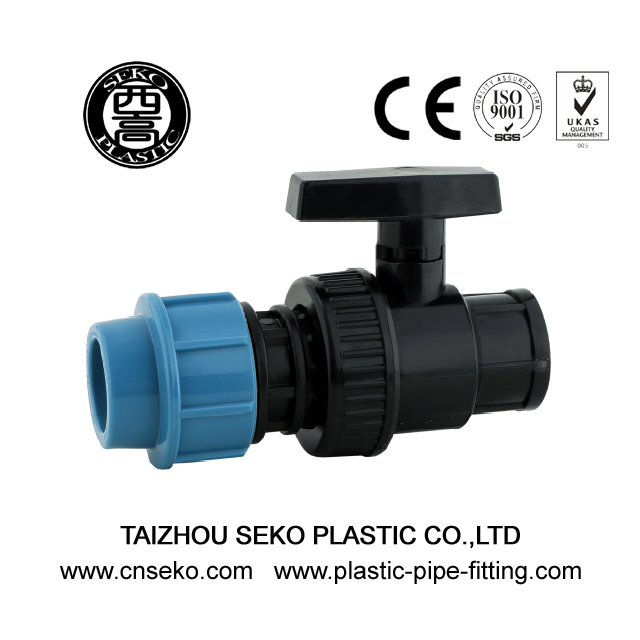Single uinon female ball valve 20mm-110mm black plastic fitting