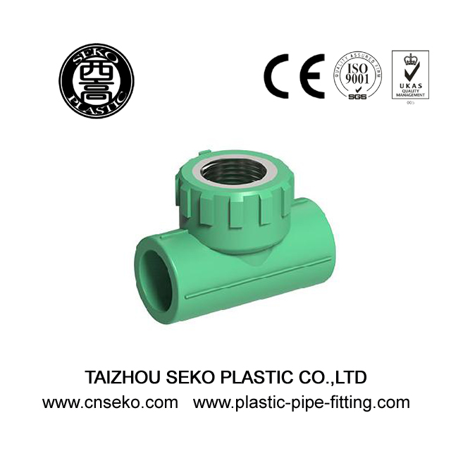 Green PPR Female Thread Tee With Brass Insert Pipe Fittings