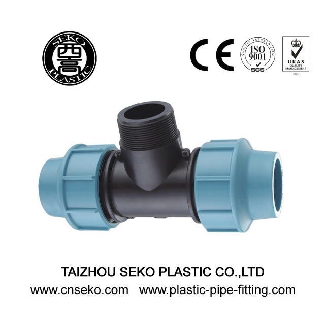 Blue and black PN16 male tee pp compression pipe fittings