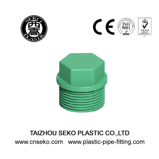 Green White Grey PPR Screwed Threaded Plug Plastic Pipe Fittings for plumbing