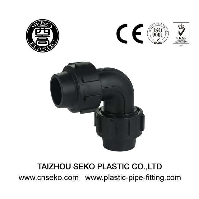 Fast connecting black 90 deg equal elbow PP HDPE fittings