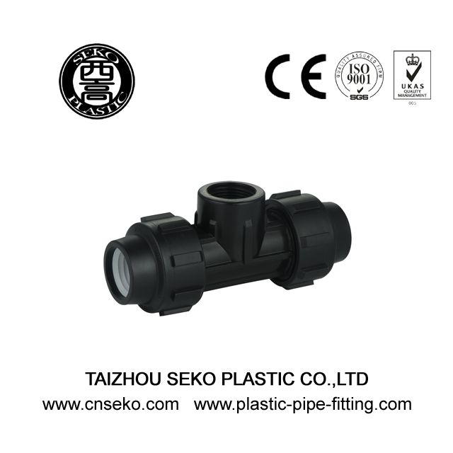 Black PP HDPE female tee High Standard compression pipe fittings