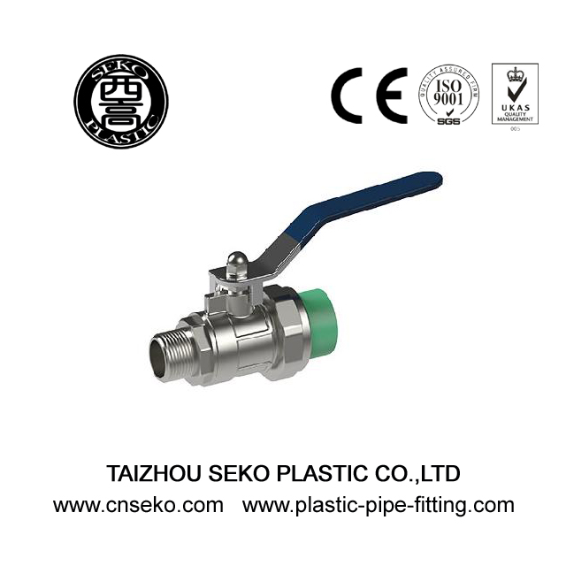 ISO Standard green white grey ppr male brass ball valve