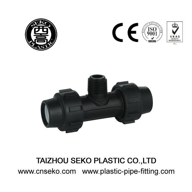Black PP male tee PN16 plumbing compression fittings
