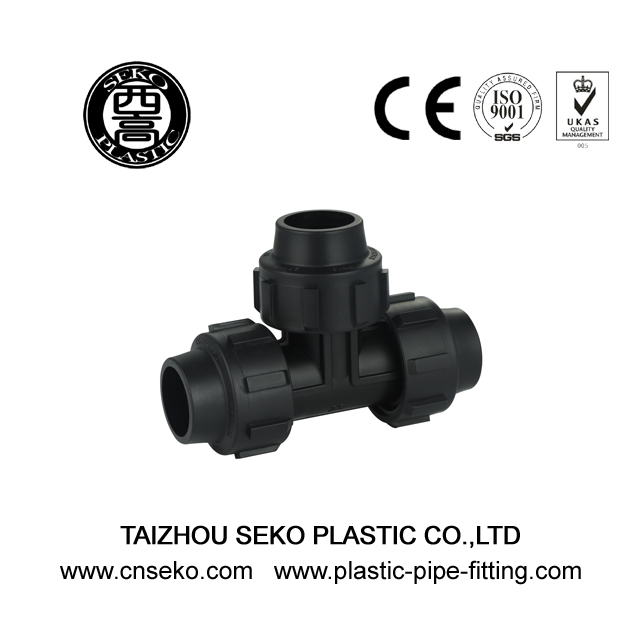 Water Supply Black Equal Tee pp compression pipe Fittings